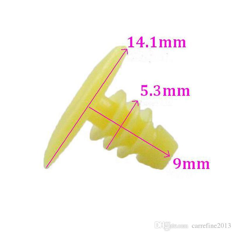 Remache de sujeción de plástico amarillo para Honda Toyota Moldura Burlete de la puerta Sellado de clip Retenes de clip Remaches