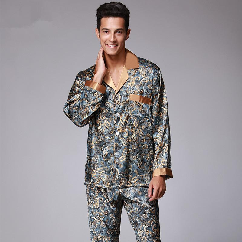 9eb020107e 2019 New Luxury Pajamas Men Paisley Pattern Sleepwear Silk Long Sleeved  Satin Mens Pyjamas Men S Lounge Pajamas Set Plus Size 4XL From Lotustoot
