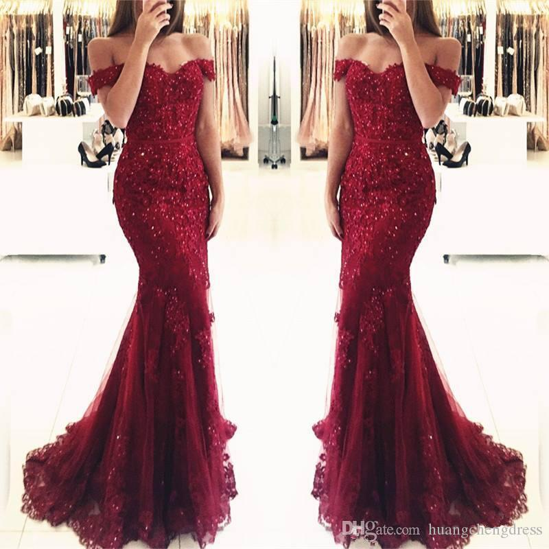 Stunning Crystal Burgundy Mermaid Prom Dresses With Cap Sleeves Sweetheart Soft Tulle Floor Length Formal Evening Dresses Lace Decals 2019