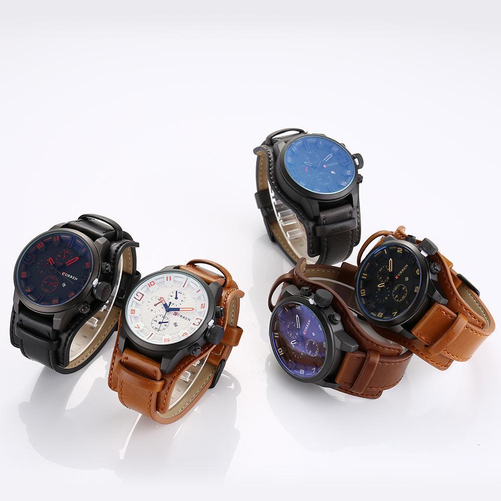 CURREN Mens Watches Top Brand Luxury Clock Male Leather Strap Big Dial Military Wristwatch Men Quartz Watch Relogio Masculino