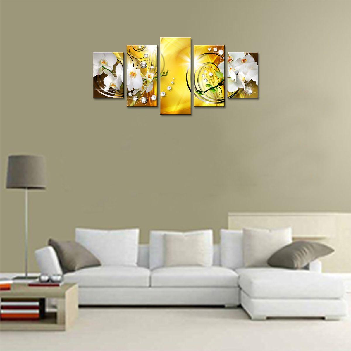 Fleur Impression Sur Toile Art Décoration Murale Image 5 Panneaux Blanc Orchidée Peinture Florale Contemporain Diamant HD Jaune Illustration pour Chambre Encadrée