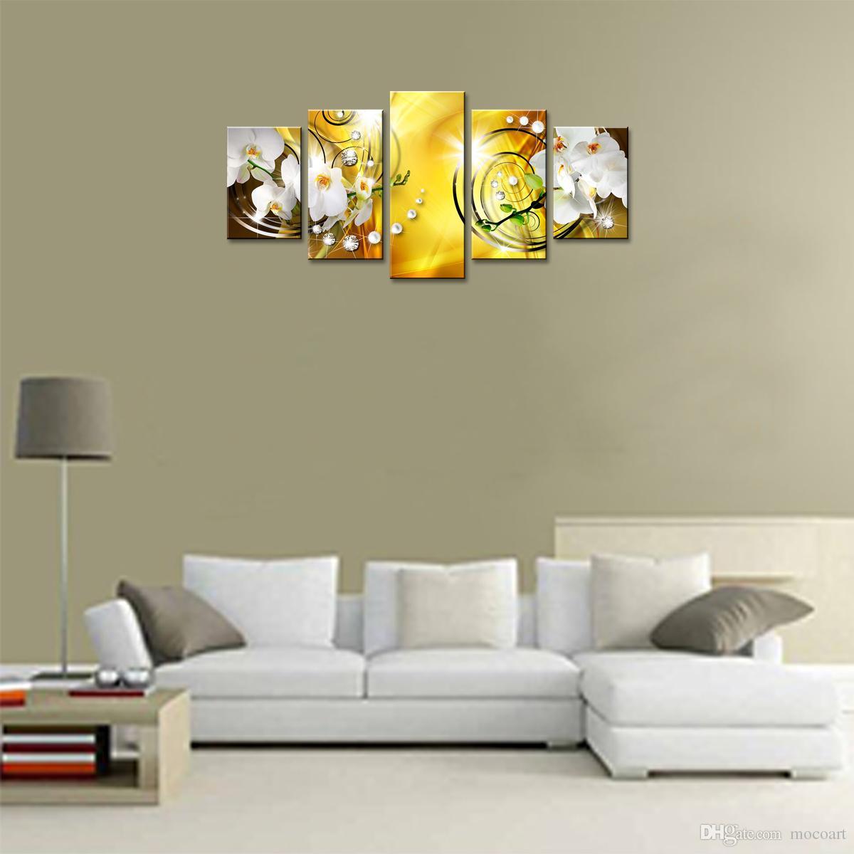 Flower Canvas Print Art Wall Decor Picture 5 Pannelli White Orchid Floral Painting Contemporary Diamond HD giallo Artwork camera da letto Incorniciato