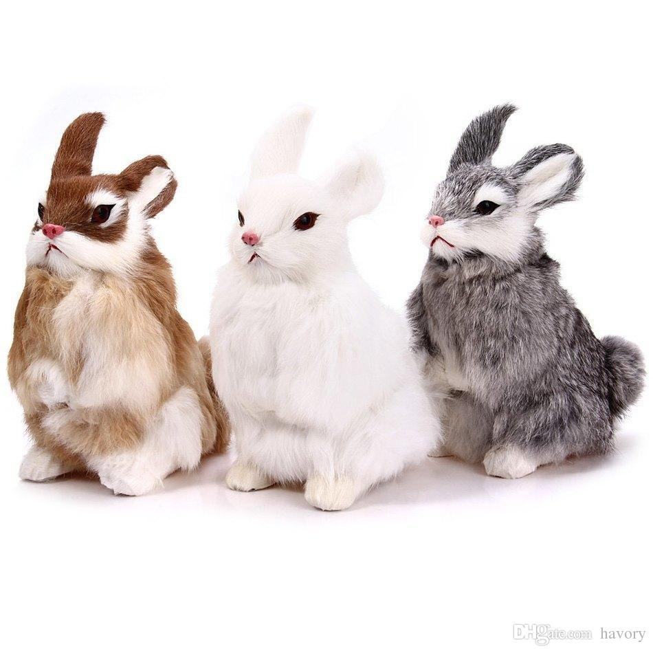 Mini Simulation Furry Rabbit Bunny Animal Model Plush Desk Car Ornament Children Kids Toy Home & Garden
