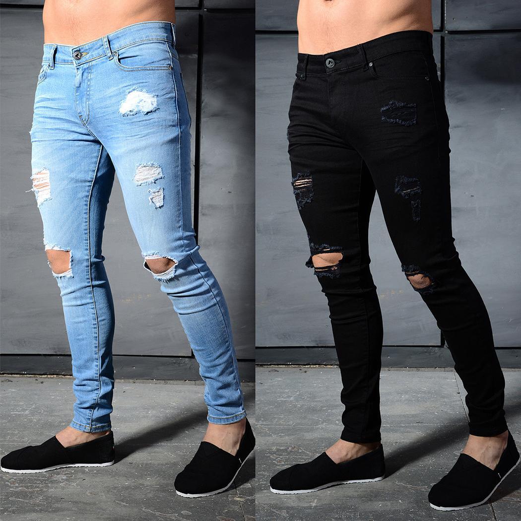 9a74edb4a5 Compre Nuevo 2018 Marca De Moda Hombres Jeans Alta Calidad Apenado Rasgado Agujeros  Pantalones De Mezclilla Slim Fit Flaco Mens Jeans Homme Streetwear A ...