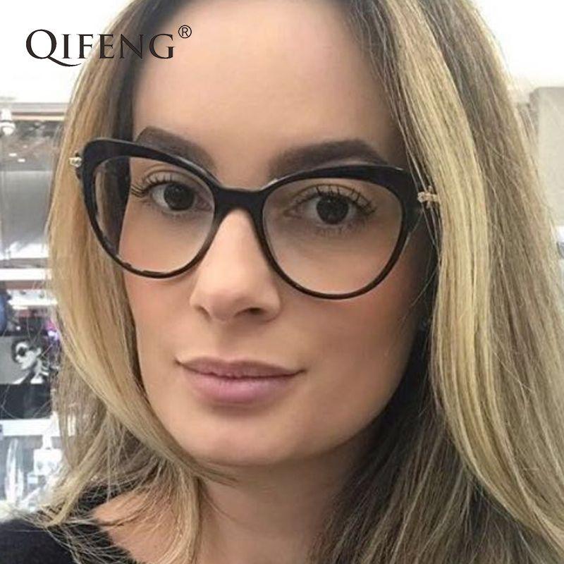 d0e7003836 QIFENG Eyeglasses Frame Women Computer Optical Cat Eye Glasses Spectacle  Frame Female For Women s Transparent Clear Lens QF100 Eyewear Frames Cheap  Eyewear ...