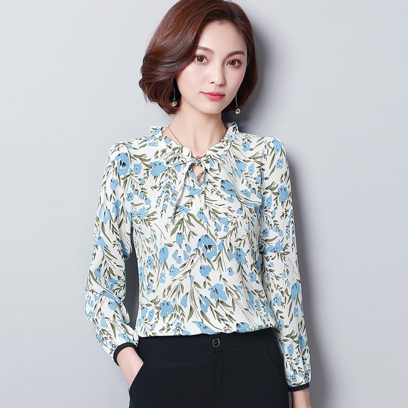 BIBOYAMALL White Blouse Women Floral Tops Fashion Casual Long Sleeve Shirts  Women OL Work Blouses Femme Blusa Plus Size XXXL Blouses   Shirts Cheap  Blouses ... 0cd390709e4c