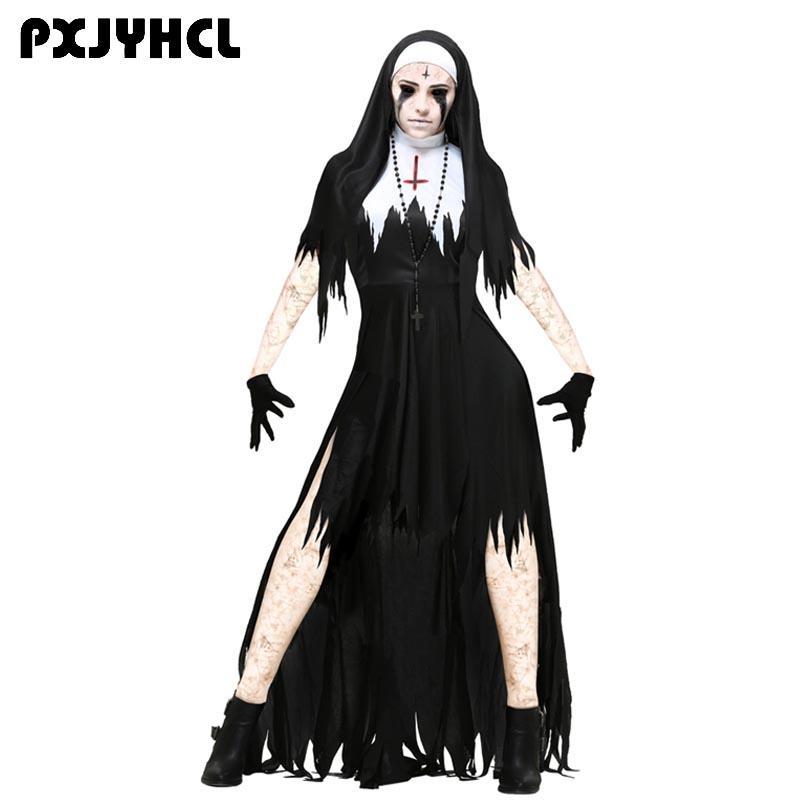 3f87aded0 Halloween Nun Scary Cosplay Costume Women Black Vampire Fantasy