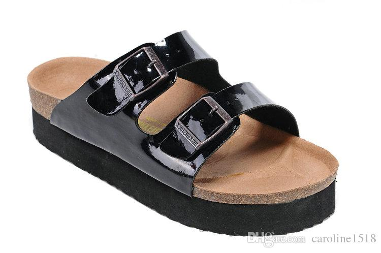 74761727376df New Famous Brand Arizona Men's Flat Sandals Cheap Women Casual Shoes Male  Double Buckle Summer Beach Top Quality Genuine Leather Slippers