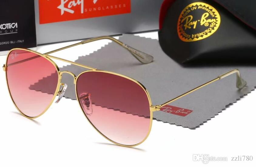 rrb with box Brand Sunglasses new Designer Large Metal Sun Glasses For Men Women Silver Mirror 56mm 62mm Glass Lenses UV Protection