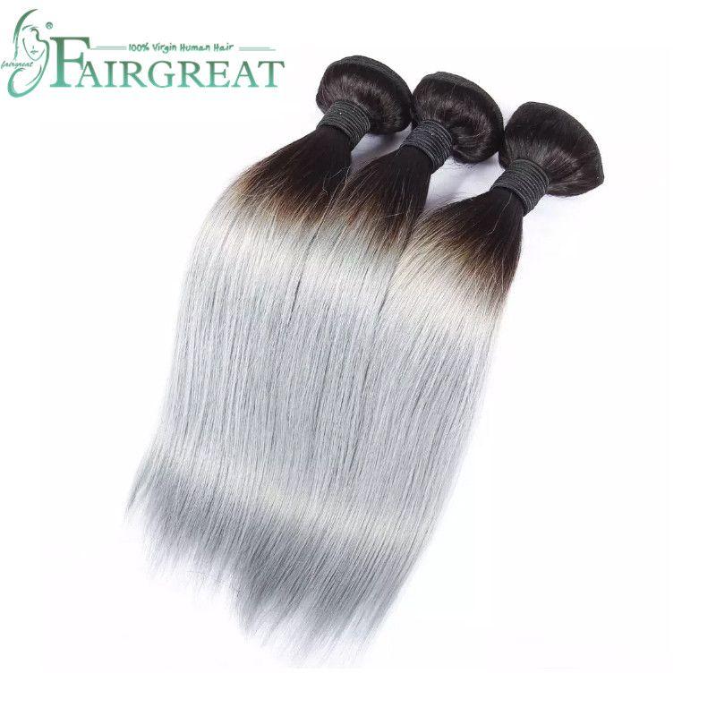 Fairgreat New Arrival #1B/Gray 100% Virgin Hair Weave Brazilian Human Hair Silver Grey Straight Bundles Ombre Hair Extensions