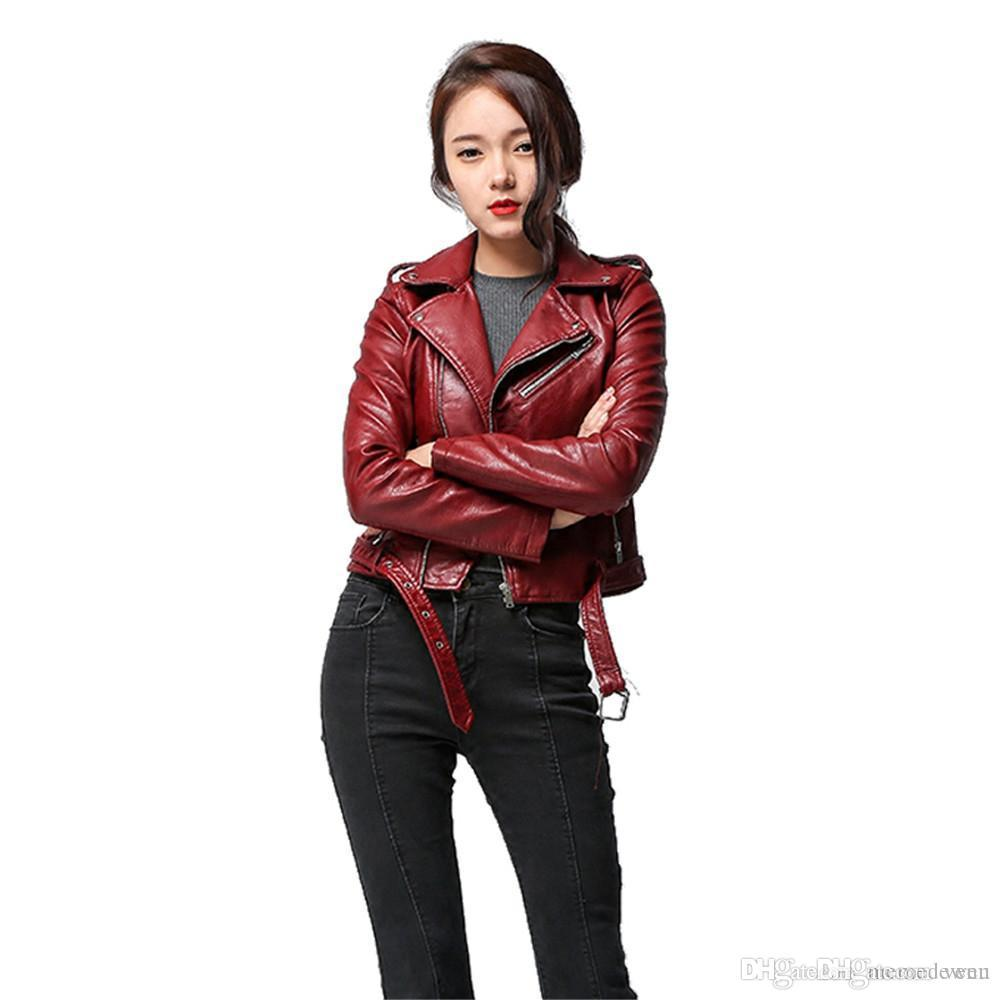 3802fcbf3a6 2017 Spring Autumn Women Faux Soft Leather Jacket Long Sleeve Pink Biker  Coat Zipper Design Motorcycle PU Red Jacket NG-012