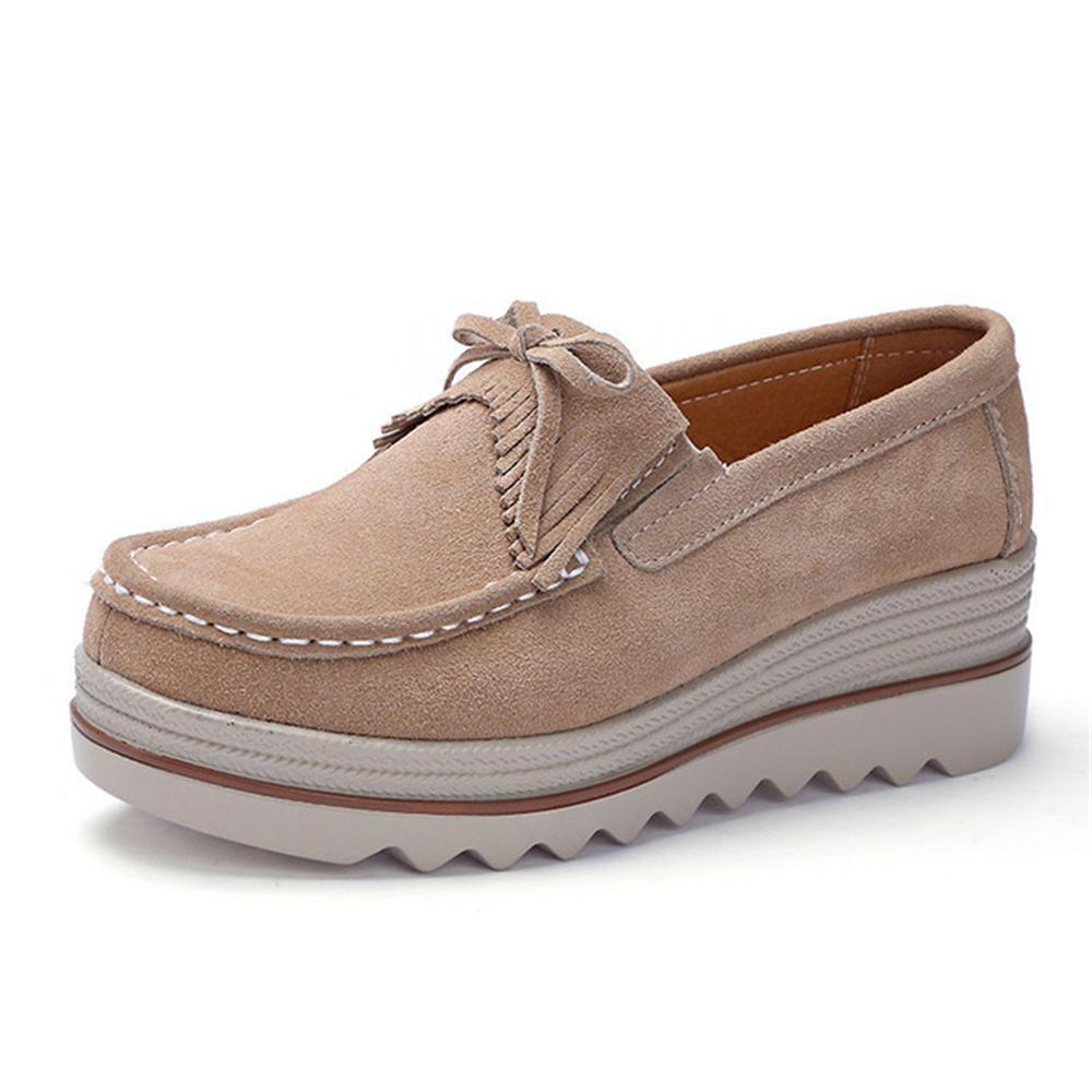 63f50516c2f14 2019 Casual 2018 New Spring-Fall Women Flats Shoes Suede Genuine leather  Shoes Ladies Casual Loafers Slip On Shoes Size 35-42