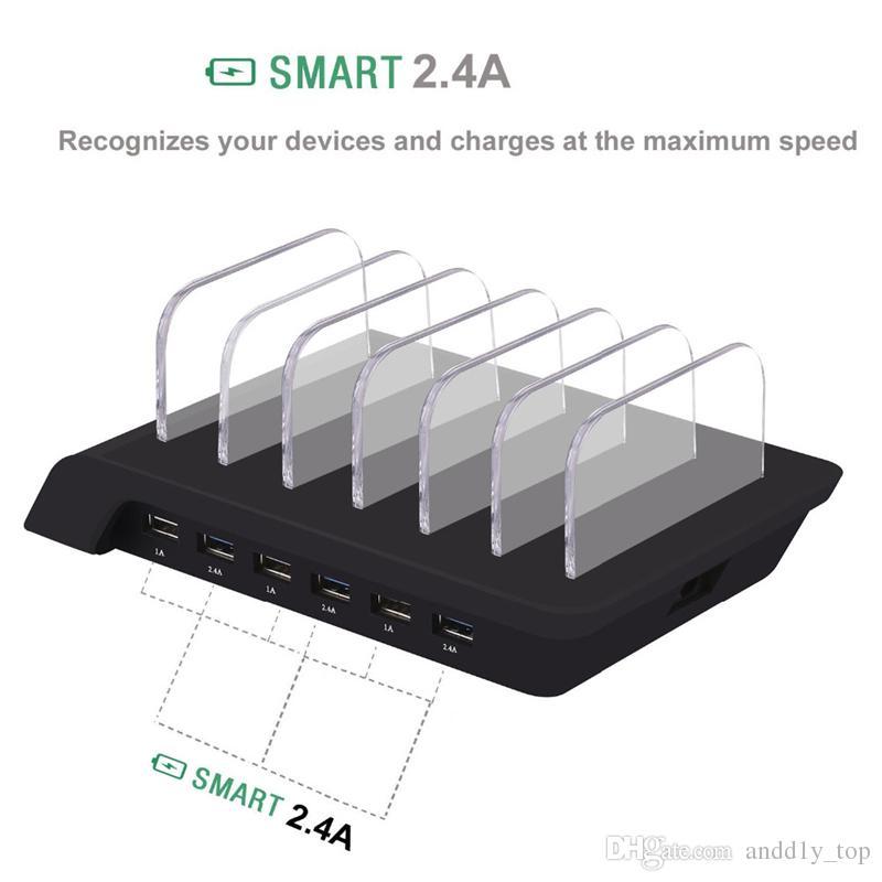 Intelligente USB-Ladestation mit 6 Anschlüssen Universelles Desktop-Schnellladegerät Smartphone-Ladestation mit mehreren Hubs für iPhone, iPad, Galaxy, Tablet