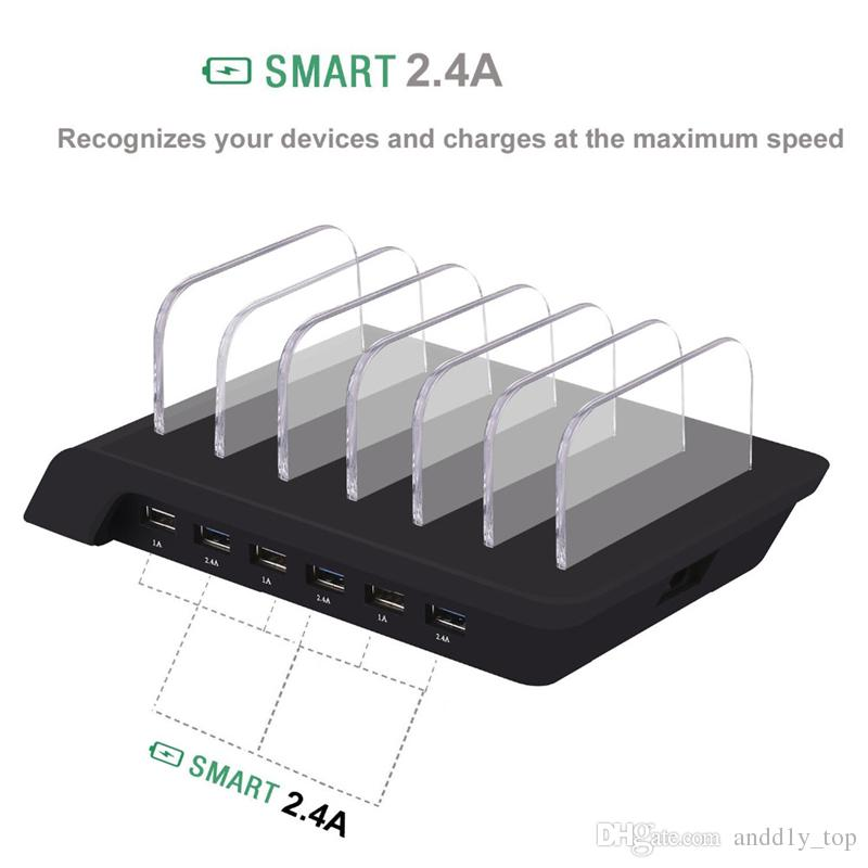Smart 6 Port USB Charging Station Universal Desktop Fast Charger Smartphone Multi-Device Hub Charging Dock for iPhone, iPad, Galaxy, Tablet