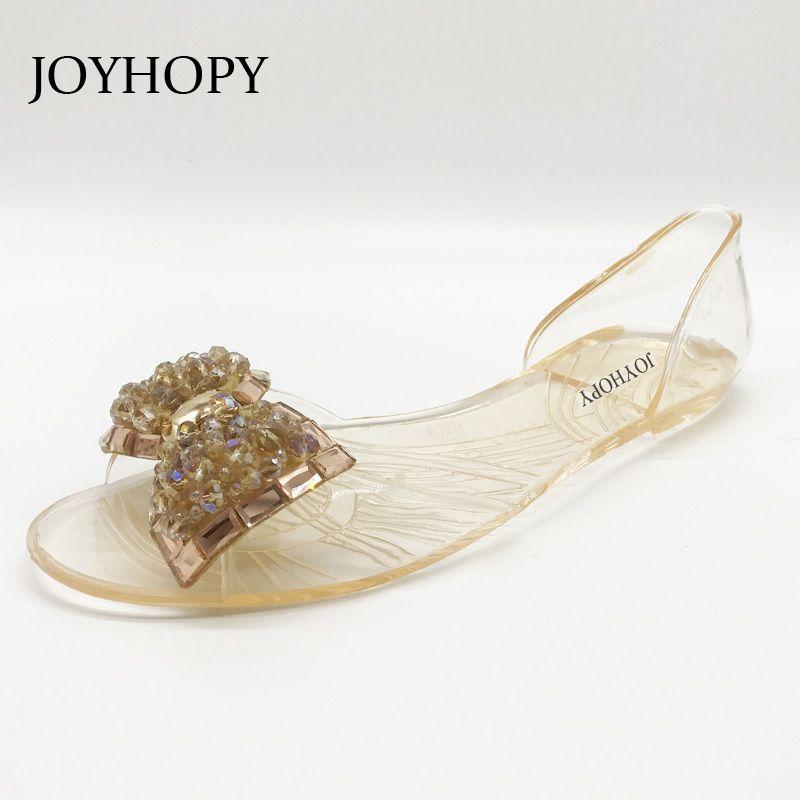 3871b06e9 JOYHOPY Women Jelly Shoes Beach Sandals Women S Transparent PVC Flower  Bowknot Peep Toe Summer Flats Woman Flip Flops Slippers Ladies Footwear  Fashion Shoes ...