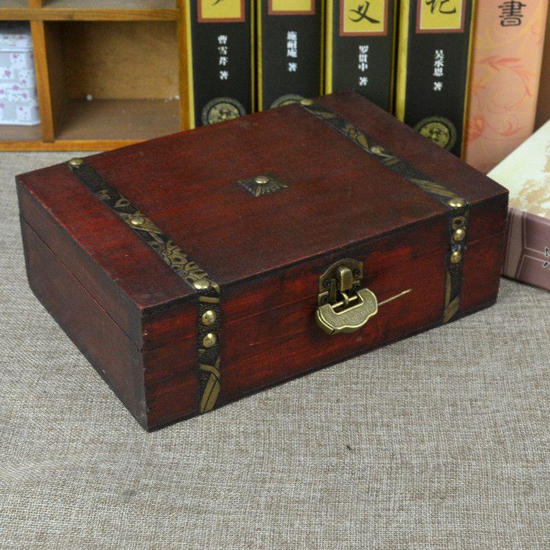 2018 Vintage Boxes Wooden Storage Box Jewelry Box Metal Lock Treasure Chest  Case Wooden Desktop Handicraft Sundries Organizer Contain From Olgar, ...
