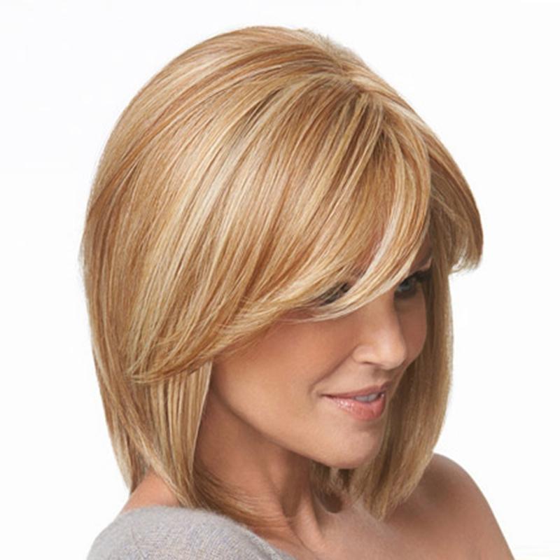 Großhandel 14inches Women Fashion Perücke Blonde Mittellange
