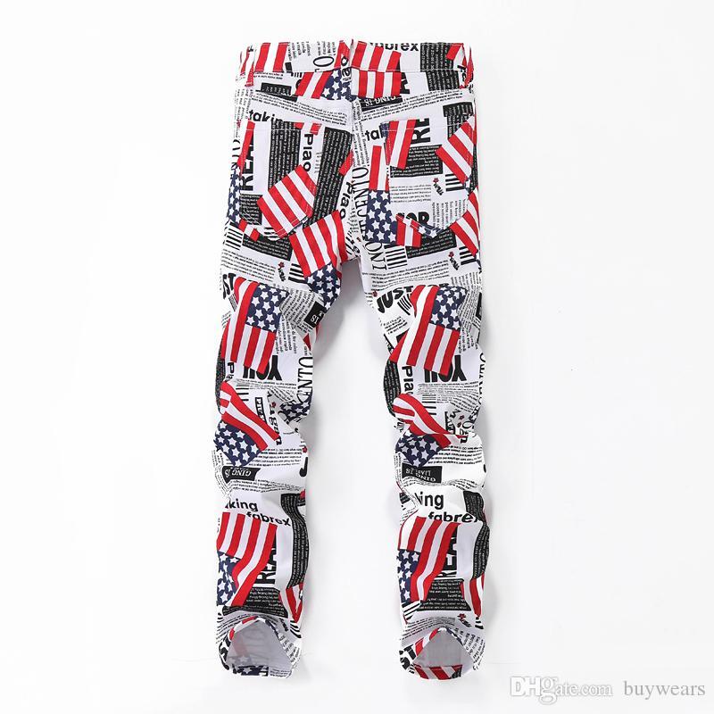 Mens Fashion Printed Jeans Us Uk Flag Slim Fit Denim Pants Men S
