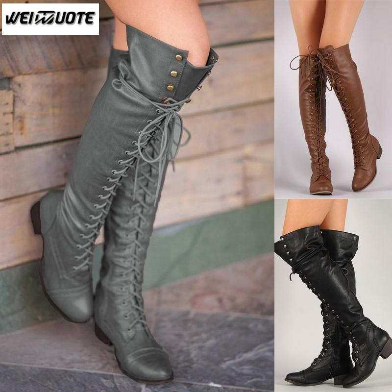 03cba26af168 WEINUOTE Women Autumn Winter Over The Knee High Boots Sexy Lace Up Wide Calf  Combat Riding Boots Outdoor Casual Leather Sexy Shoes Boots Shoes From  Lbdshoes ...