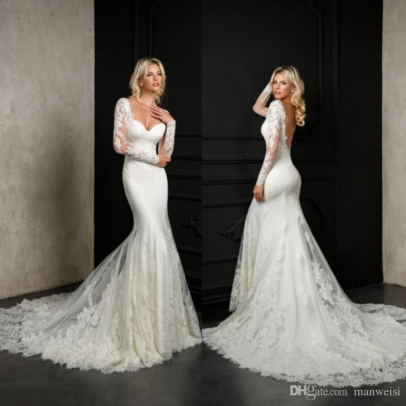 2d26e2a6bac Bien Savvy Bridal Gowns 2018 Mermaid Wedding Dress Full Lace Appliqued  Backless Beach Long Sleeves Wedding Dresses Vestido De Novia Wedding Lace  Dresses ...