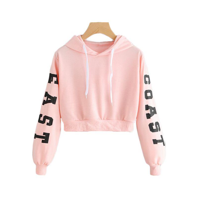 915f8b2c4aa Romwe Pink Cropped Hoodies Drawstring Kawaii Women Letters Print Long  Sleeve Hooded Sweatshirt Autumn Graphic Sweet Hoodies
