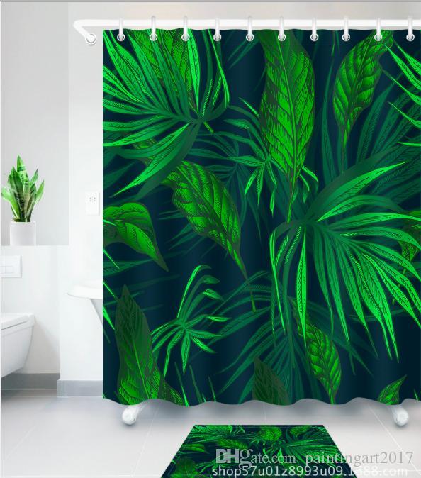 2018 Handmade Tropical Green Leaves Shower Curtain Waterproof ...