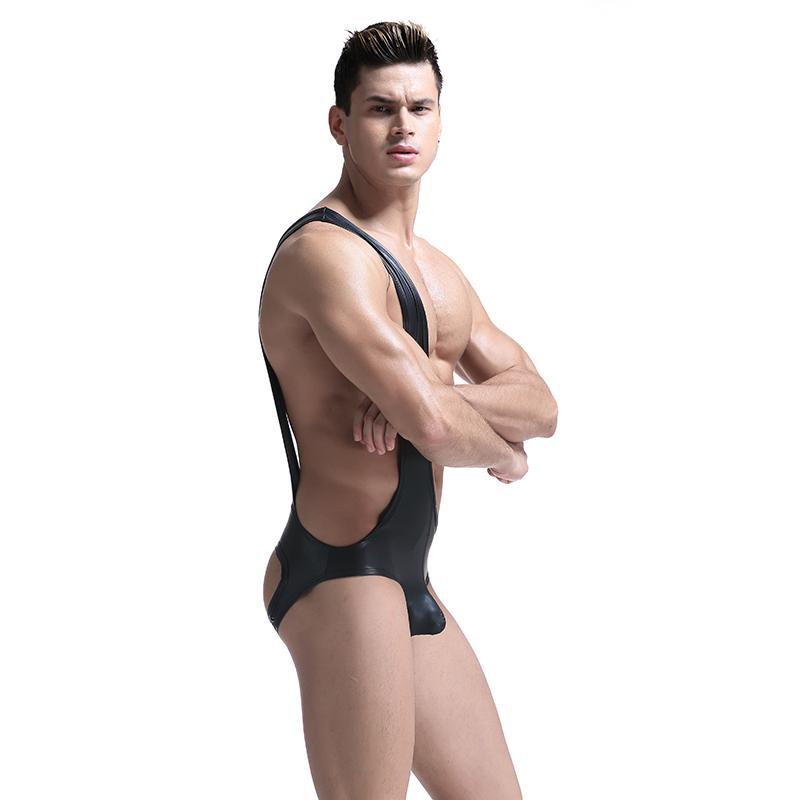 Sexy para hombre de charol negro mamelucos mono cintura delgada Body erótico Gay Stripper blusa sin mangas ropa interior trajes de cuerpo para hombres