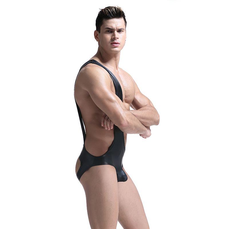 Trajes mamelucos atractivo para hombre Negro Charol Mono cintura delgada Body Erótico Gay Stripper blusa sin mangas Underqwear corporal, para hombres