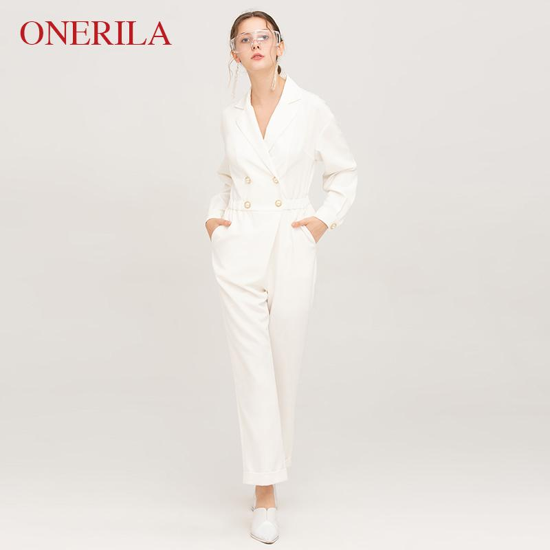 1f63612ae1c3 2019 ONERILA Casual Ladies V Neck Long Sleeve Double Breasted White  Jumpsuits For Women 2018 Long Pants Elegant Rompers Plus Size From Stripe