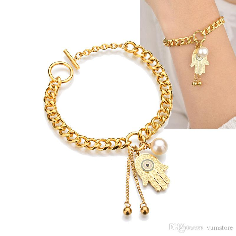 f45b404043cf0 Fashion Women Bracelets Stainless Steel Gold Plated Bangle Bracelet With  Pearls Charms Hand Of Fatima Shinning Bracelet For Girls Gifts