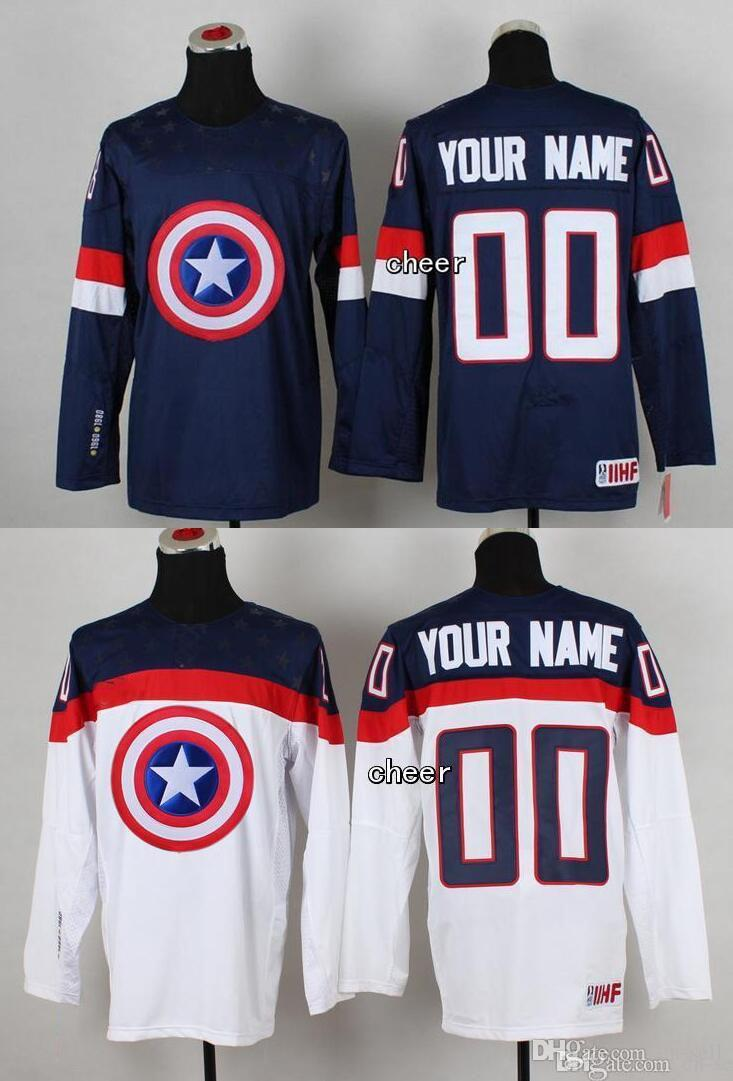 ec3e4eb2d 2019 2015 Wholesale Mens Women Youth 00 Your Name Blue White Captain  America Fashion Ice Hockey Jersey Personalized Customized Jerseys From Cn  Sell