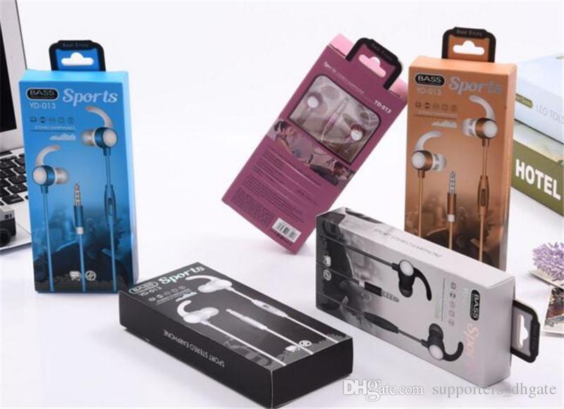 Auriculares deportivos con forma de bocina YD-013 Auriculares de 3,5 mm In-Ear Auriculares bajos Estéreo auriculares de teléfono universales con paquete minorista Para s8 s9 DHL
