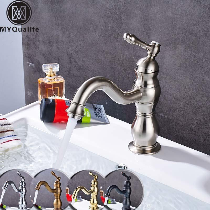 2018 Brushed Nickel Bathroom Sink Faucet Single Handle Swivel Spout Washing  Basin Taps With Hot And Cold Water From Qinqinmeling, $152.77 | Dhgate.Com