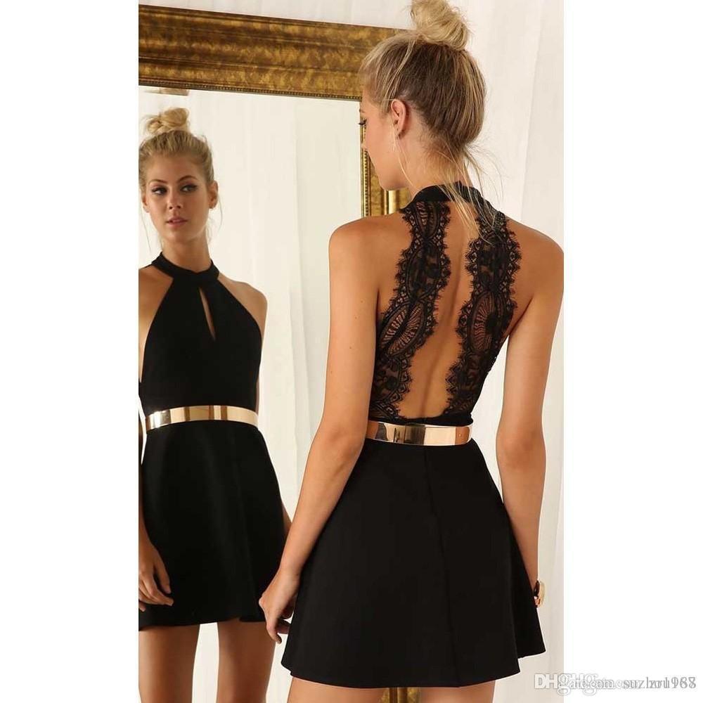 7ce98cf5b Compre Trajes Semi Formales Negros Cortos 2019 A Line Halter De Encaje Negro  Dramático Sexy Vestido De Mujer Falda De Regreso A Casa A  54.37 Del  Suzhou168 ...