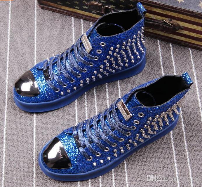 8c8748900bbb 2018 HOT FASHION Men S Designer Shoes Sequined Rivet Loafers Platform  Casual Flats Shoes Male Homecoming Dress Wedding Prom Shoes Scholl Shoes  Leopard Print ...