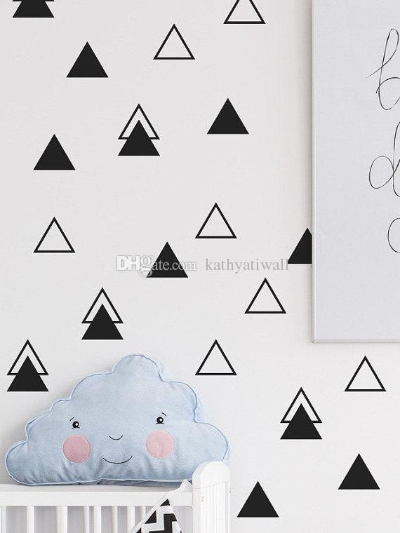 4cm Wide Cute Triangles Wall Sticker Baby Nursery Triangles Wall Decal Children Room Decors High Quality Easy Wall Art Cut Vinyl P41