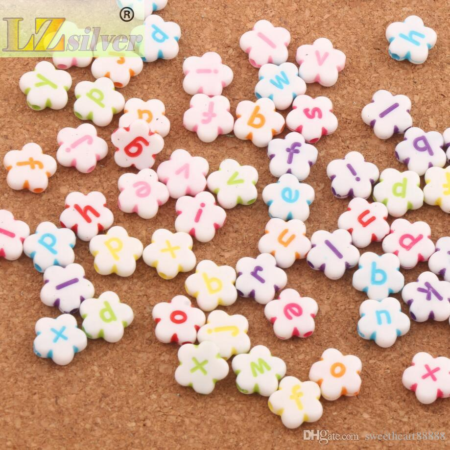 11mm White Colorful Acrylic Alphabet Letter Flower Beads L3120 Jewelry Making DIY Loose Beads