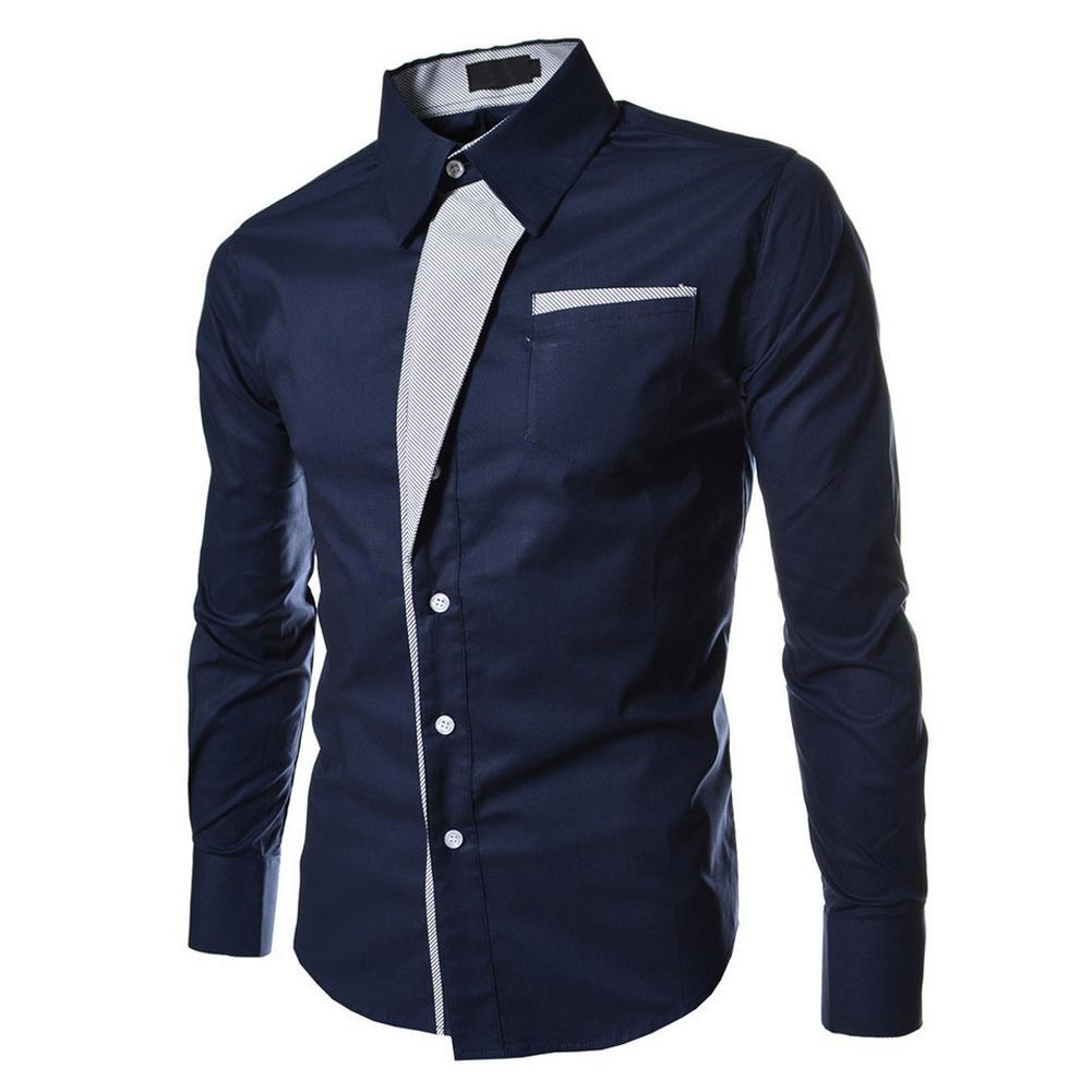 08c9a94dea Compre Outono Azul Escuro Ocasional Masculino Manga Longa Tarja Camisas  Blusas Sociais Slim Fit Camisas De Carawayo, $42.76 | Pt.Dhgate.Com