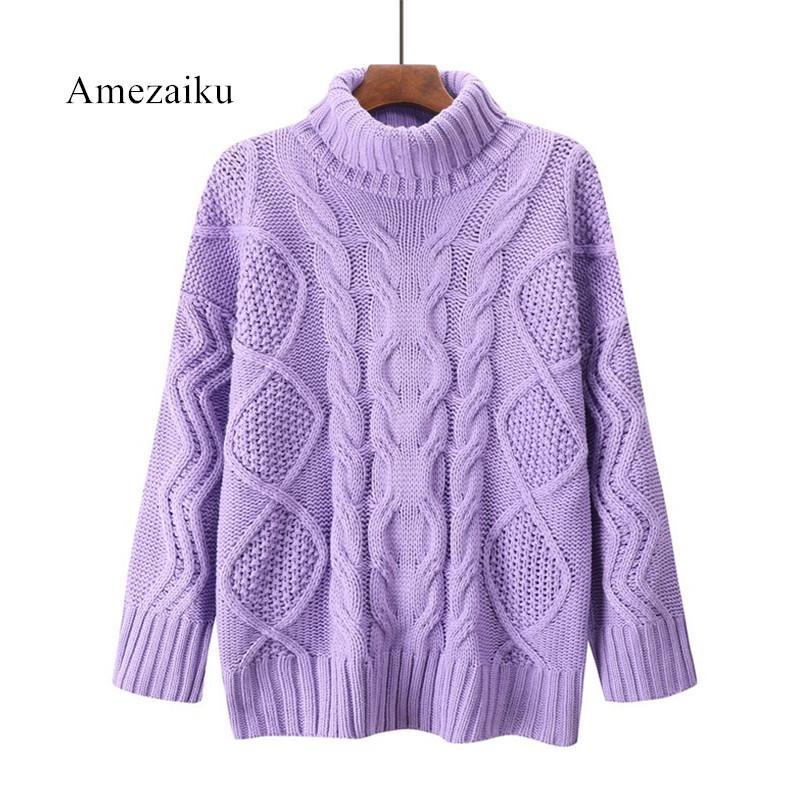 c27da1f39f6 Women Sweaters Winter Turtleneck Warm Sweaters Pullover Knitter Wear Purple  Pull Over Loose Women Tops Pullovers Cheap Pullovers Women Sweaters Winter  ...