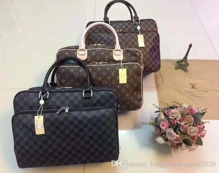 e63b8a0d878e 100% Genuine Leather LOUIS VUITTON briefcase business package michael  shoulder bag kor handbag clutch GUCCI crossbody package laptop bag