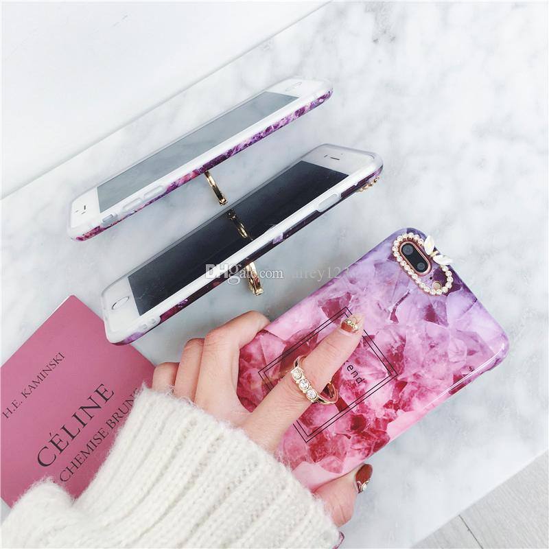Weiche TPU-Gehäuse-Abdeckung IMD-Hüllen Telefon Shell Marble Texture Fall mit funkelnder Ring-Halter für iPhone X 6 6S 7 8 Plus