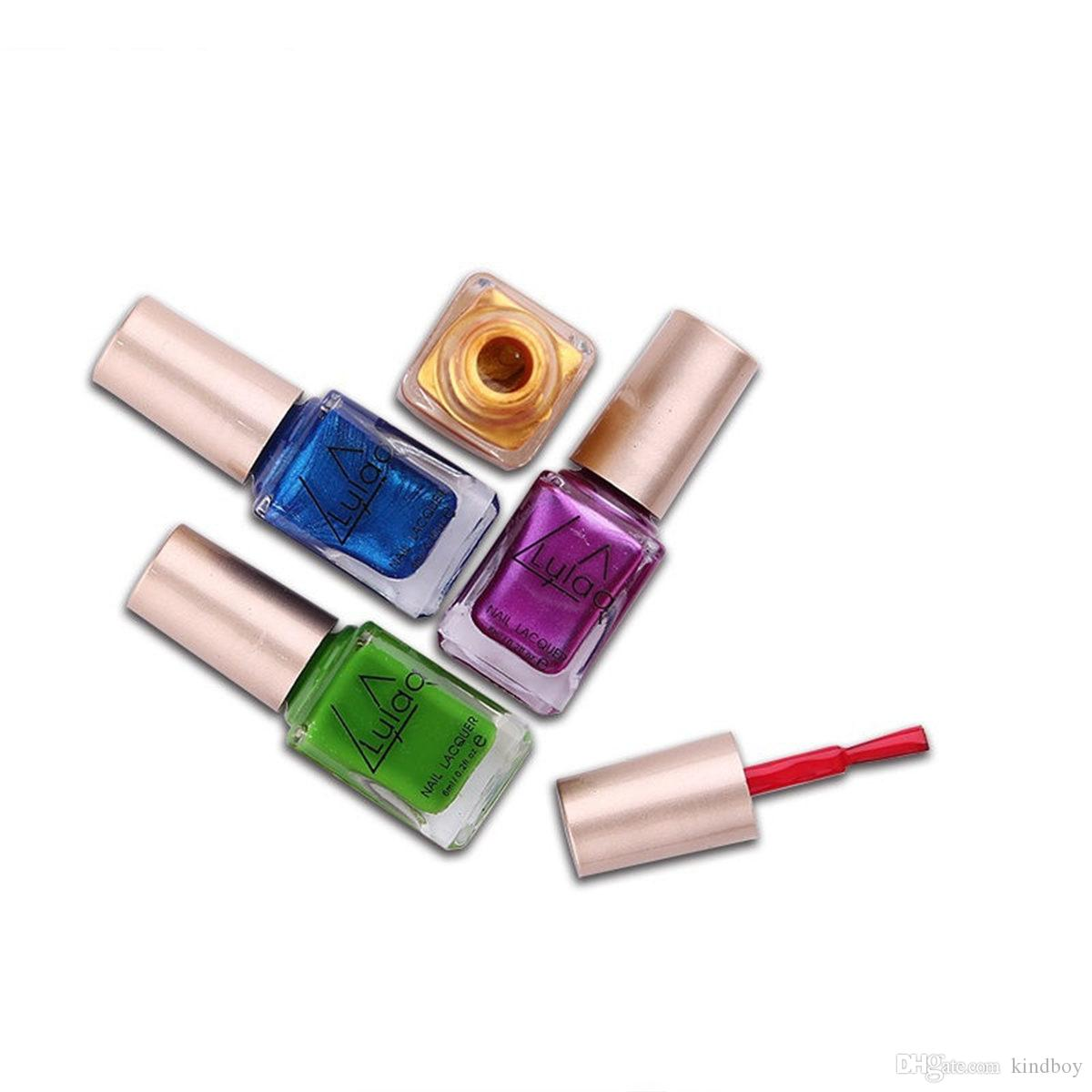 LULAA 12 Couleurs Métallique Vernis À Ongles Couleur Pure 6 ml Effet Miroir Brillant Métal Vernis Vernis à ongles vernis à ongles DHL