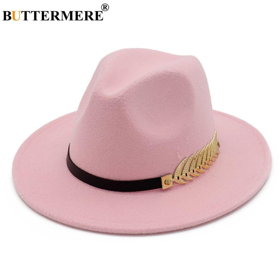 Acquista BUTTERMERE Cappello Fedora Pink Ladies Elegant Winter Donna  Cappello Di Lana Foglia Di Feltro Tesa Larga Fedora Britannica Vintage Jazz  Bowler A ... 6c1a983c7f34