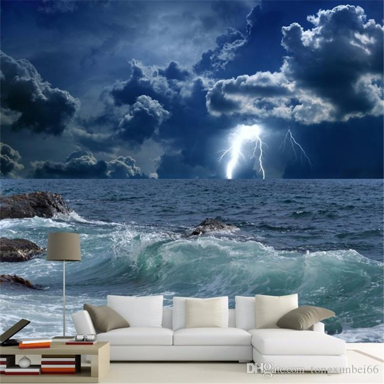 Custom Photo Wallpaper 3d Ocean Waves Lightning Dark Cloud Landscape