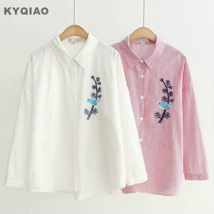 Kyqiao Vintage Plaid Shirt Womens Tops And Blouses Mori Girls Autumn Spring Japan Style Blue Red Black Cat Plaid Blouse Blouses & Shirts