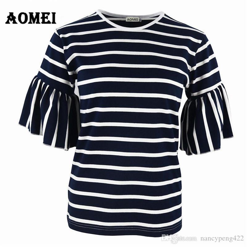 2018 femmes de Bell manches T-shirt décontracté rayé noir avec blanc O cou d'été Hauts T-shirts Tuniques bleu marine à rayures T-shirts Tops