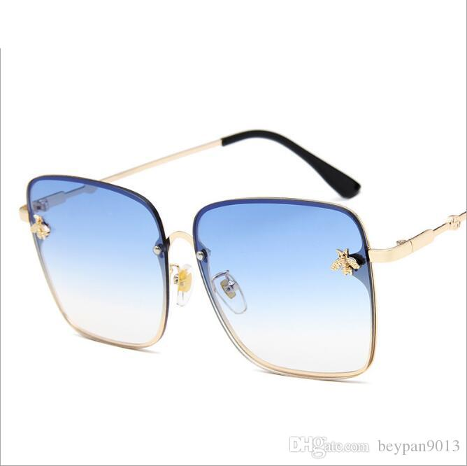 0cb3b57f21 2019 Luxury Square Sunglasses Men Women Italy Brand Designer Classic  Aviator Sun Glasses Oversized Shades Full Frame With Delicate Bees From  Beypan9013