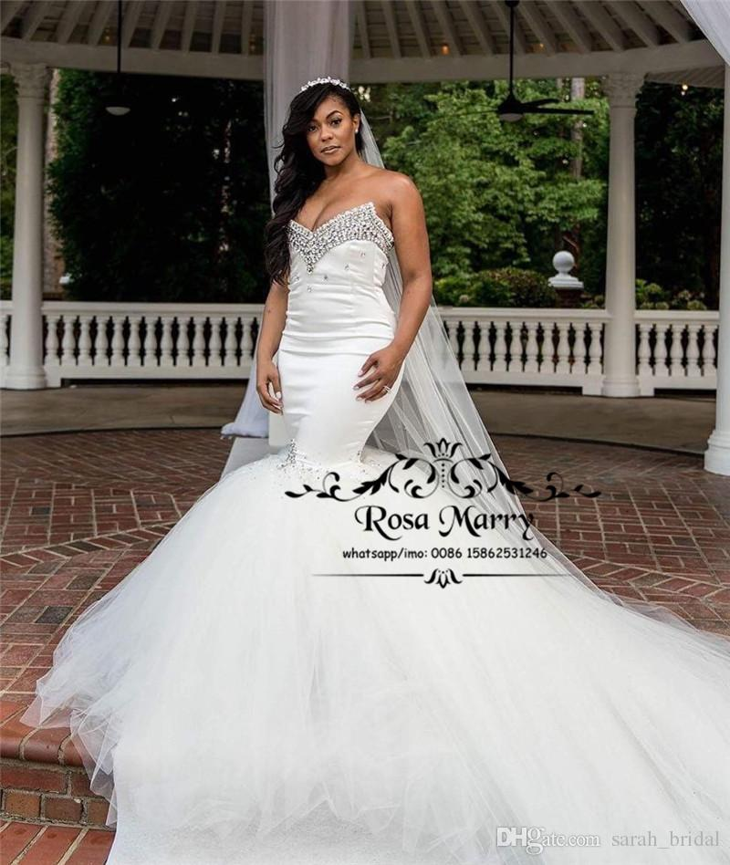 9a1ad526d6d Luxury Crystals Mermaid African Wedding Dresses 2018 Nigeria Arabic Corset Plus  Size White Court Train Tulle Bridal Gowns Vestido De Novia Mermaid Wedding  ...