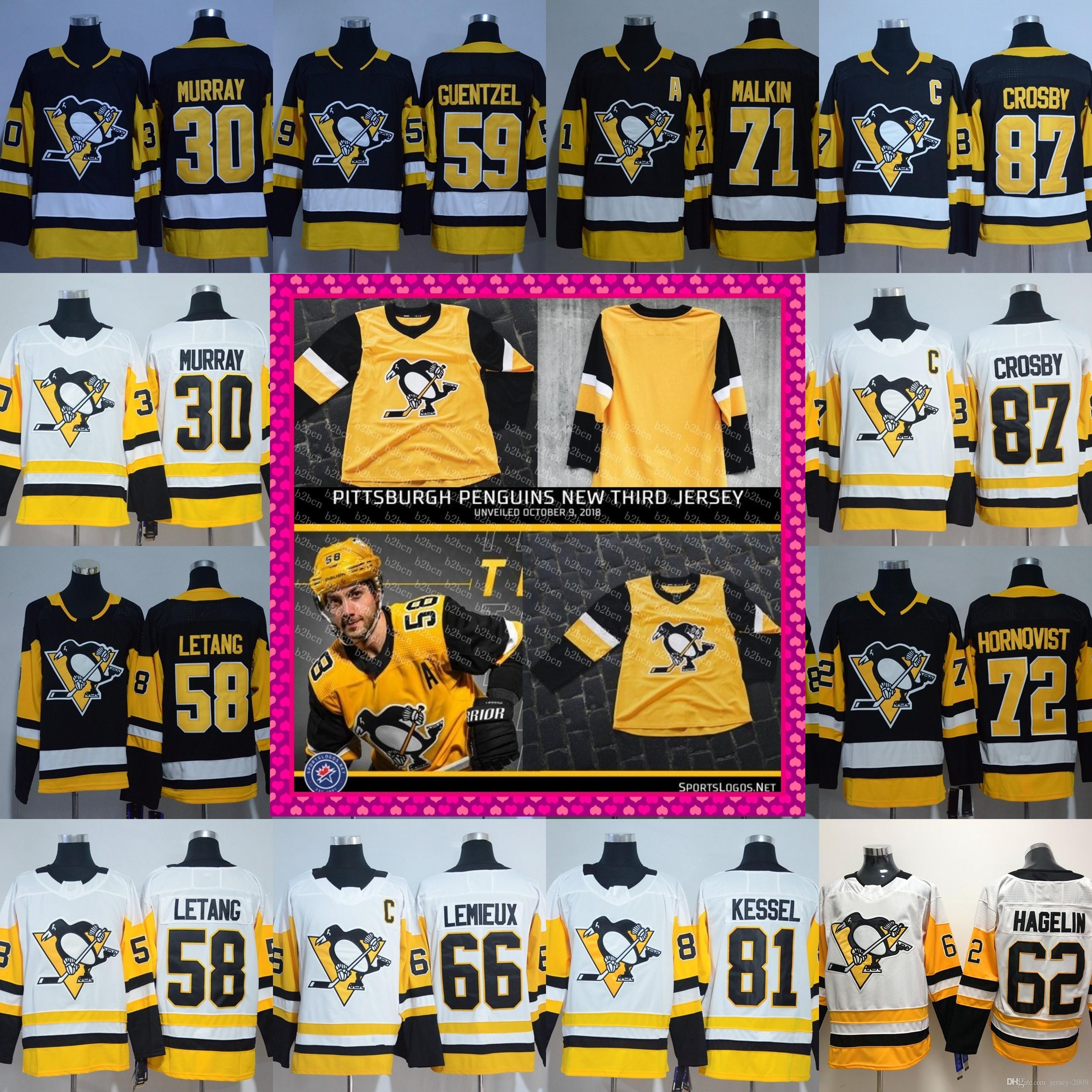 new product 57af4 97907 2018 new third Pittsburgh Penguins 87 Sidney Crosby Mario Lemieux Matt  Murry Evgeni Malkin Phil Kessel Jake Guentzel Hornqvist Jerseys