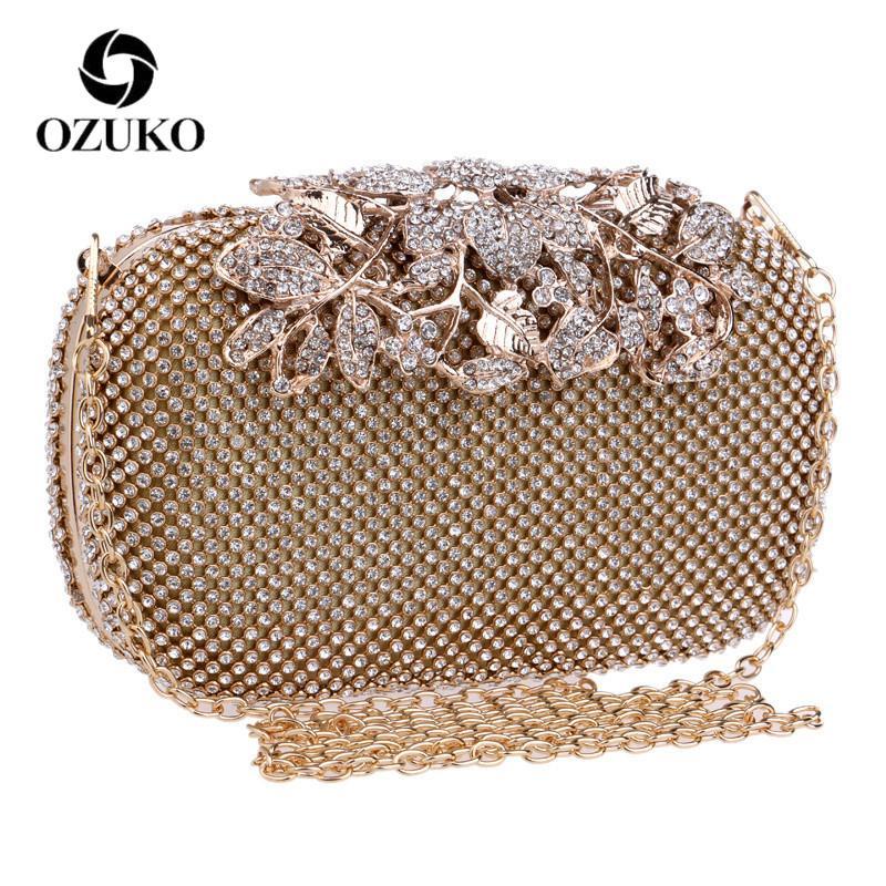 5e2448eb2b OZUKO Flower Crystal Evening Clutch Bag Clutches Women Wedding Purse  Rhinestones Handbags Silver/Gold/Black Chain Bag Red Clutch Fashion Handbags  From Misix ...